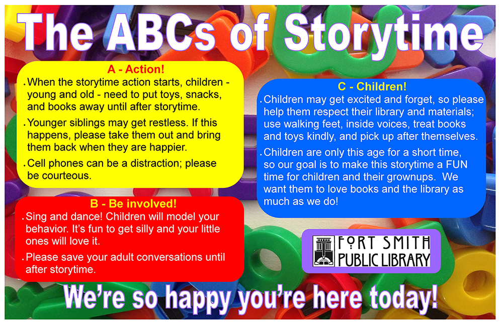 The ABCs of Storytime etiquette information graphic