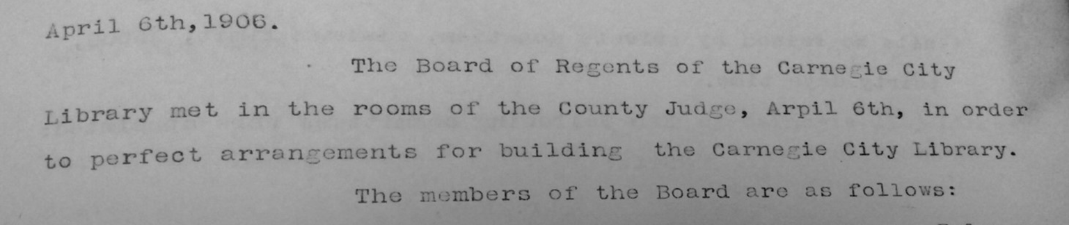 Record of the first library board meeting