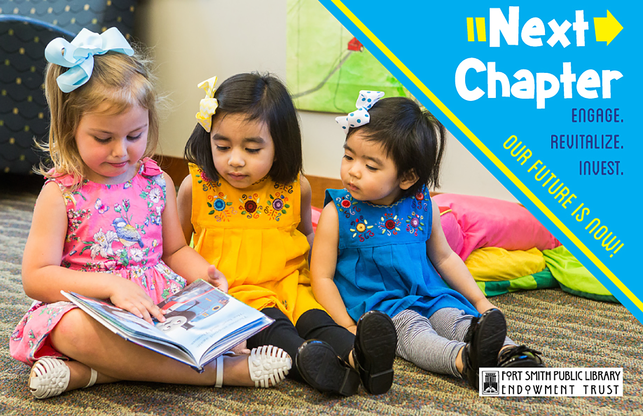Next Chapter banner showing three young girls reading a book in the library