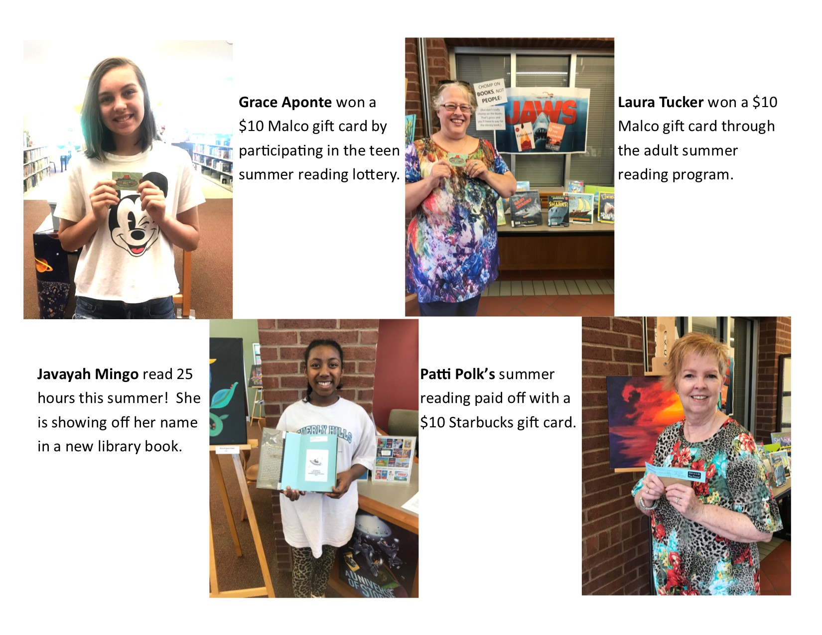 Winners of the Fort Smith Public Library summer reading program