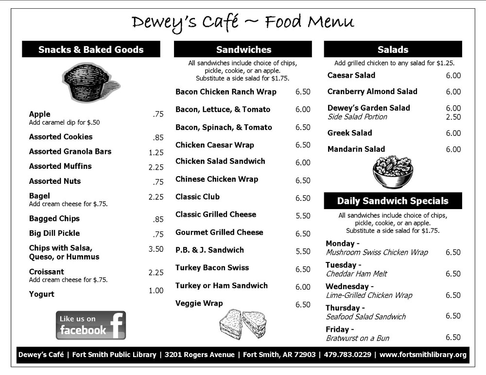 Dewey's Cafe Winter 2020 Food Menu