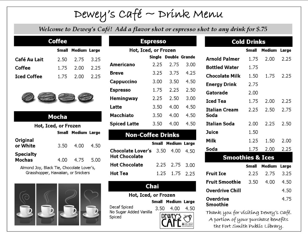 Dewey's Cafe Winter 2020 Drink Menu