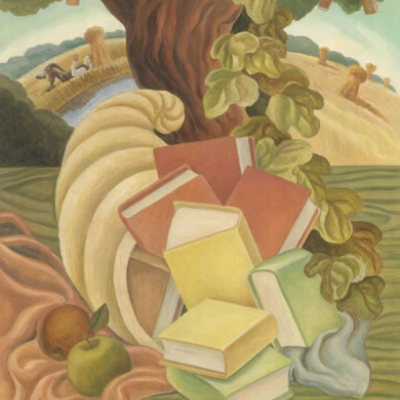 Tree with cornucopia full of books