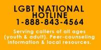LGBT National Hotline 1-888-843-4564