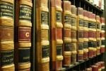 Old law books on a bookshelf