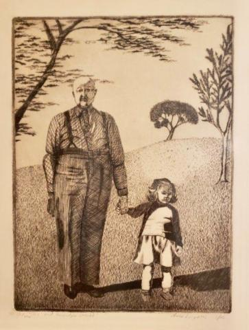 drawing of grandpa and young grandchild