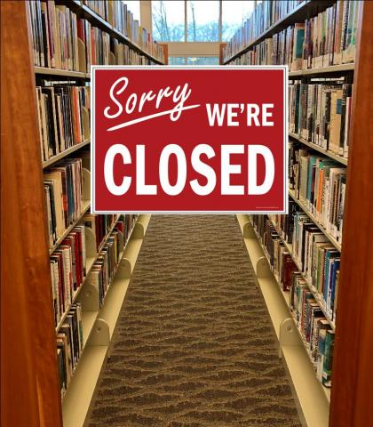 library book shelves with closed sign