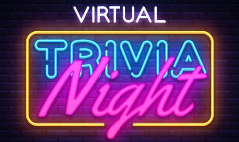 Virtual Trivia Night spelled out in multicolors.