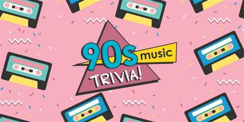 90s Music Trivia in multi colors against a pink background with music boxes all over.