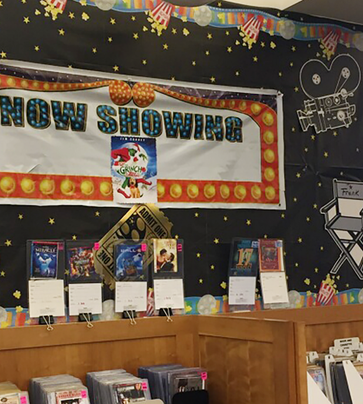 """Now Showing"" display at Windsor Drive Branch"