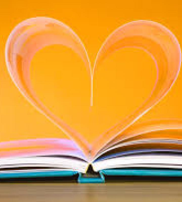 Book with pages made into a heart